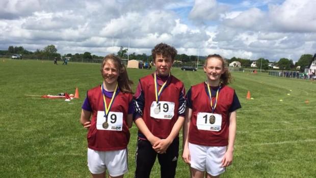 Gold Medal Winners_ U-14 Caoimhe Cregg 100m  Hurdles_ U-16 Oisin Cregg 800m_ U-14 Aisling Feeley 800m