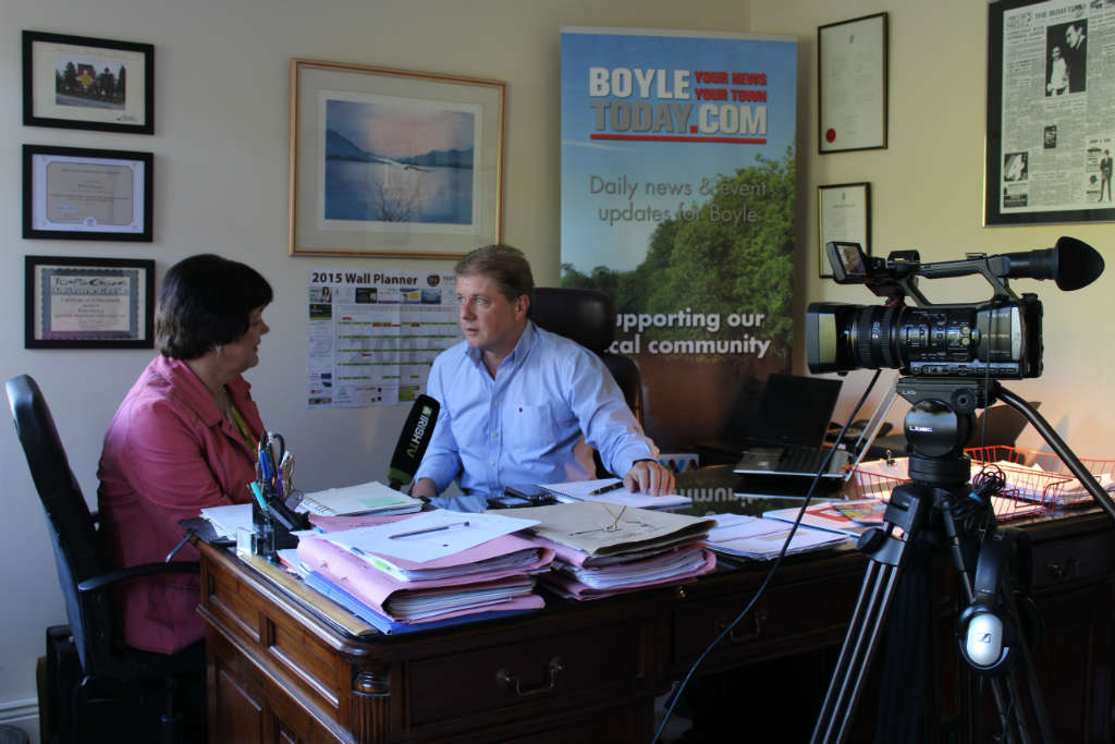Photo of Irish TV film crew visit Boyle