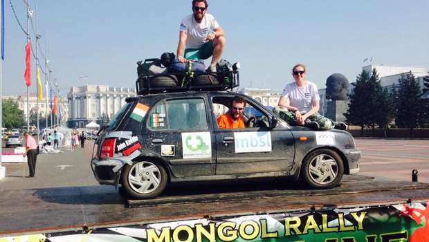 Boyle's Devin Finneran has made it to the finish line of the Mongol Rally in her Nissan Micra!