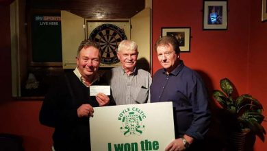 Photo of Denis and Joe win 'Celtic 50/50 draw